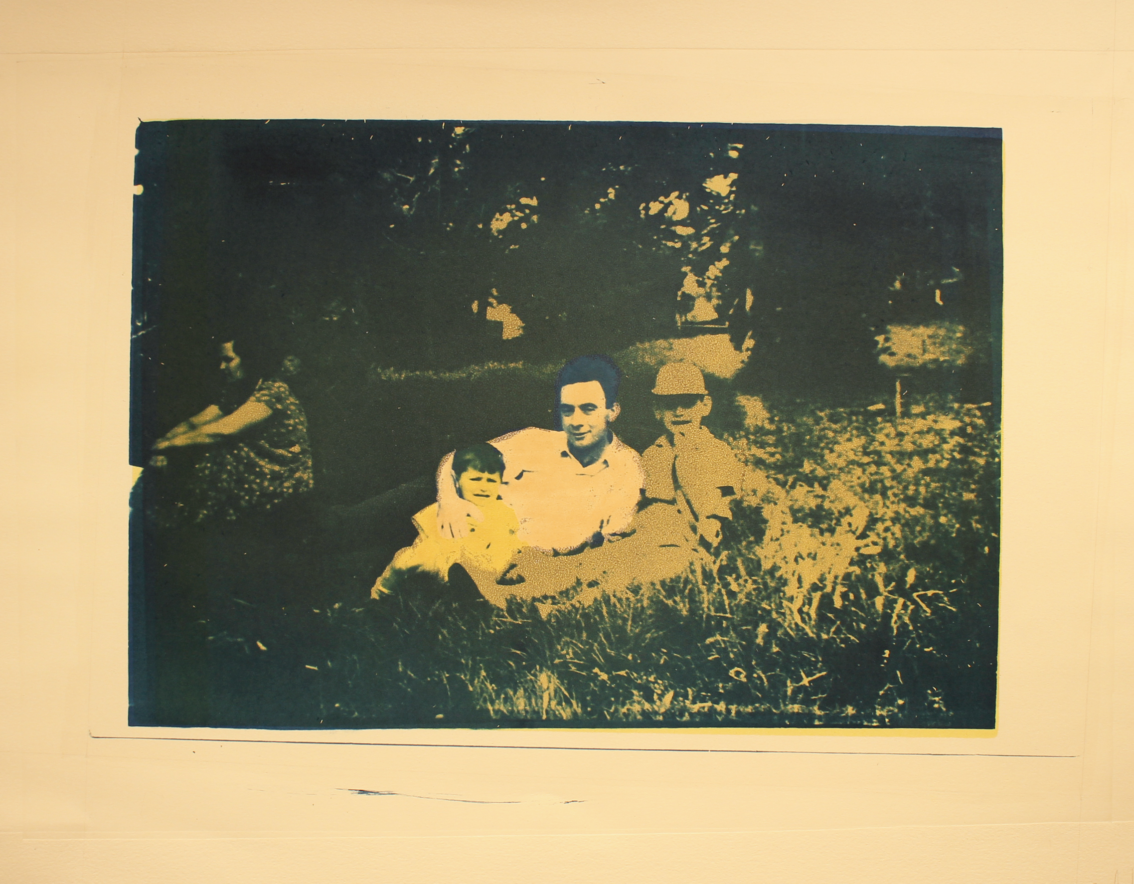 Saba with two boys cyanotye with monotype