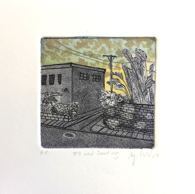 7th and Santiago etching